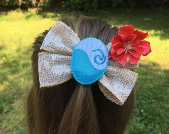 Polynesian Princess Bow / Moana Hair Bow / Moana Bow / Moana Birthday / Princess Party / Heart of Te Fiti
