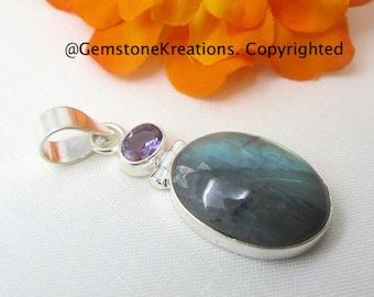 Labradorite, Amethyst Pendant,  Sterling Silver Pendant, Gemstone Pendant