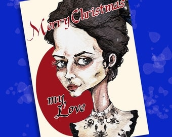 Merry Christmas Card - Vanessa Ives - Penny Dreadful -  1 JPEG 15x21 cm - Ready to print