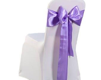 "7""X108"" Badbury Purple Satin Sashes Chair Cover Bow Sash WIDER FULLER BOWS Wedding Party"