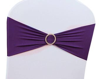 Dark Purple Elasticity Stretch Chair cover Band with Buckle Slider Sashes Bow Decor