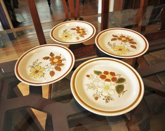 "Vintage Salad / Dessert Plates – 3 Autumn Collection Stoneware 'WildWood' and 1 Old Brook Stoneware 'Stonecreek' – 7.5"" diameter"