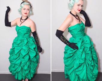 Dramatic 1950's Kelly Green Bubble Dress | Strapless Sweetheart Bust Gown | Size Small
