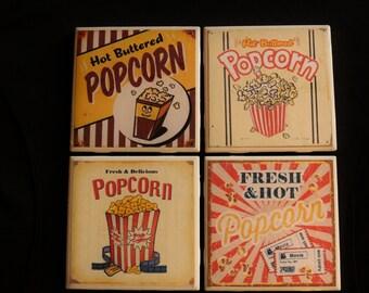 Movie Tile Coasters ~ Popcorn Custom Coasters ~ Movie Custom Coasters ~ Popcorn Ceramic Tile Coasters ~ 3cstylesandprints ~ Mancave Coasters