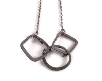 Trio * Oxidised Silver Link Necklace, Artisan Silver Link Necklace, Blackened Sterling Silver Necklace