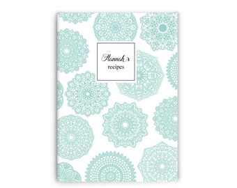 Recipe book • Personalized recipes • Doilies  - stitch spine -Custom Stationery Journal-notebook - gift for mum/her/family