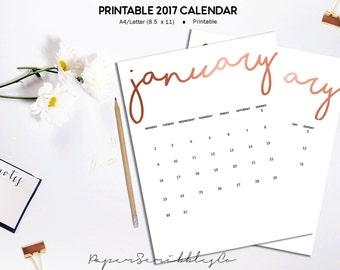 SALE - 2017 Printable Calendar, Rose Gold Calendar, Printable Wall Calendar 2017, Monthly Calendar, A4, Letter Planner Inserts, Printable
