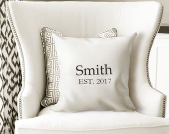 Personalized Pillow- Rustic Home Decor- Throw Pillow Cover-  Monogrammed Pillow- Farmhouse Pillows- Anniversary Gift- Custom Pillow-