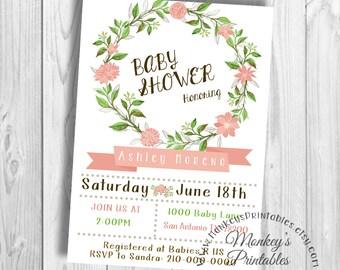 Floral Invitation, Floral Baby Shower Invitation, Baby Shower, Baby Girl, Baby Girl Invitation, Floral