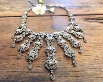 Amazing Heavy Sterling Silver Marcasite Collier Choker Necklace with Articulated Pieces