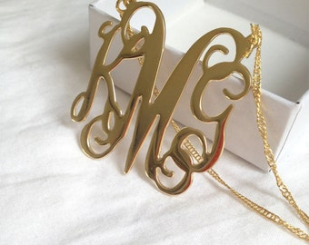 Monogram Initial necklace - Personalized Monogram - 18k Gold Filled, Personalized Jewelry - Bridesmaid Gift - Wedding Gift