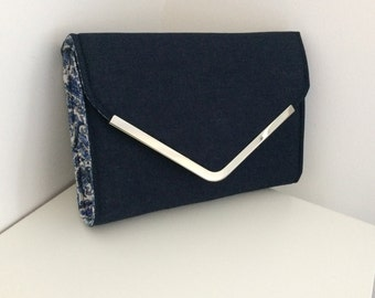 Navy blue clutch bag, handmade