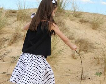 Skirt with polka dots, skirt girl, skirt dots, midi, modular skirt, skirt, black and white skirt, dots skirt, skirt girl