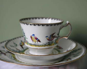 RESERVED  Please do not buy  Beautiful Royal Stafford Trio  Birds and Flowers  Fine bone china  Excellent condition