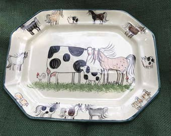 Serving Cow Horse Platter- Hand Painted Cow Horse Serving Dish
