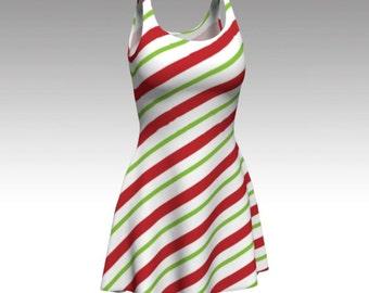 Candy Cane Dress, Flare Dress, Skater Dress, Bodycon Dress, Fitted Dress, Christmas Dress, Red and White Dress, Xmas Dress, Stripe Dress