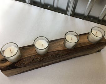 Candle Holder made from Live Edge Walnut wood