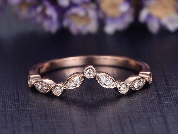 Curved V Wedding Band Solid 14k Rose Gold Engagement