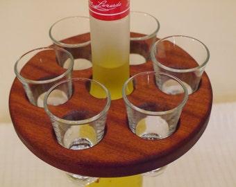 Shot glass caddy - inc 6 shot glasses
