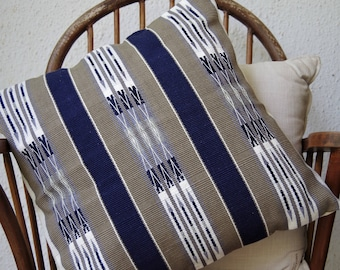 Handmade Navy Blue and Brown Cushion inspired from Naga tribal designs 45cm x 45cm (cover only)