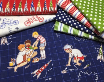 Children at Play, by, Sarah Jane, Fat Quarter Bundle, Rocket Launch Club, boy bundle, Micheal Miller Fabrics, OOP, VHTF, FQ, Quilitng Cotton