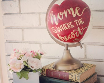 """Personalized 8"""" Globe, Red heart with gold writing"""