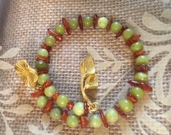USA FREE SHIPPING!! Flower- Olive New Jade and Amber Chip Spacer Bracelet