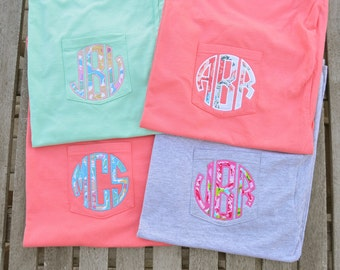 Monogram Pocket Tee, monogrammed pocket Short Sleeve t shirt, monogram pocket tshirt, Applique monogram pocket tee for women