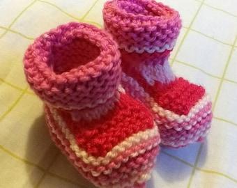 Petal Stripe Newborn Booties