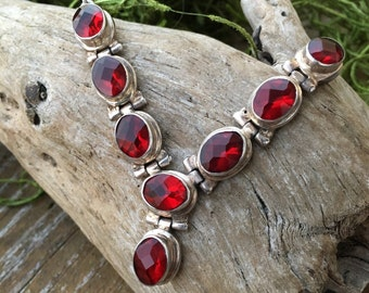 Sterling Silver Vibrant Red Necklace | Valentines Day Jewelry | Statement Necklaces | Vintage Necklace | Woman's Necklace
