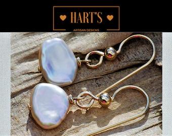 Keshi Pearl 14K Gold Earrings