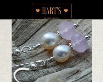 Teardrop Pearl Rose Quartz Crystal Argentium Silver Earrings