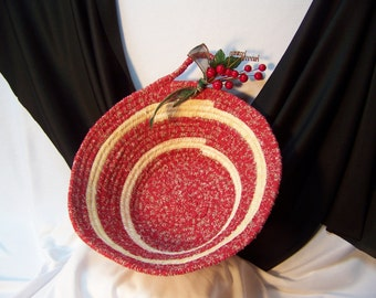 Red and Cream Color Round Coil Holiday Basket