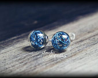 silvered glass earrings with wire balls