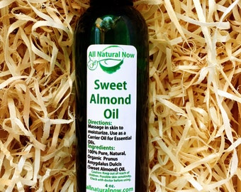 Sweet Almond Carrier Oil/100% Organic Oil/Massage Oil/Skin Rejuvenating/Replenish/Hydrate