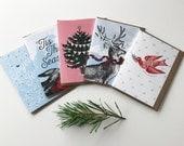 Ensemble Varié de 5 Cartes de Noël et Enveloppes - Joyeuses Fêtes - Tis The Season - Rudolph - Paix et Amour - Joyeux Noël