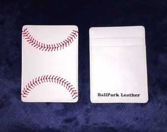 White Leather Baseball Seam Credit Card and Money Holder