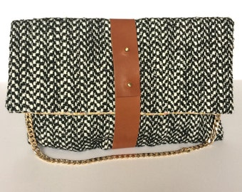 NEW! Wool tweed and camel leather handbag