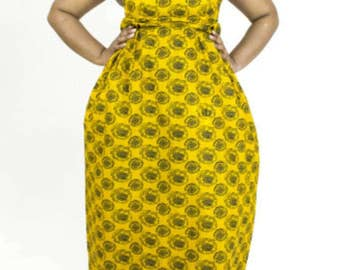 African Print Long Dress with Pockets