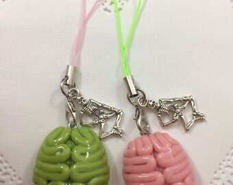 Creepy Cute Zombie Brain Phone Strap