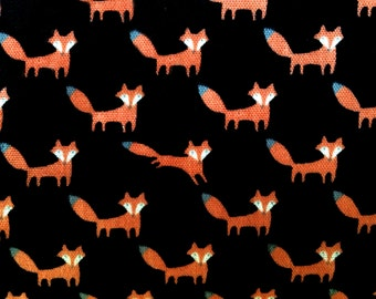 Fox Fabric | Double Gauze | Soft Material | Cute Baby Fabric | Baby Blanket | Kokka Japanese Import | Black | Small Fox Print | Animal