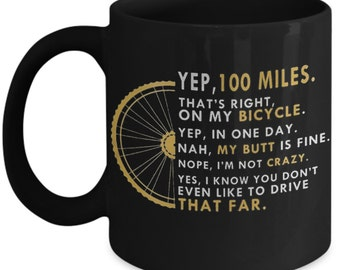 Bike Mug - cycling coffee mug - Century Ride Mug