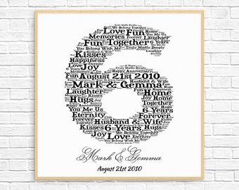 PERSONALIZED 6th ANNIVERSARY Gift ~ Word Art ~ Printable Art ~ Unique Anniversary gift ~ 6 Year Wedding Anniversary ~ Unique Gift