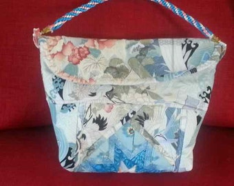 Handmade Origami bag, unique gift, Asian-inspired fabrics,aqua, pale blue, exotic handbag