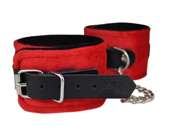 Bondage Red Velvet touch Ankle cuffs, BDSM, restraints, Sex toys, wrist restraint, bdsm cuffs (mature)
