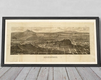 Edinburgh 1868 rare old print, views to Pentland Hills, Meadows, and Leith Walk | Fine Art Giclée Print of Engraving Huge Wall Art Hanging