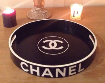 Round Black Chanel Tray - White Trim