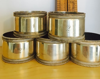 set of 5 numbered edwardian silver plate napkin rings