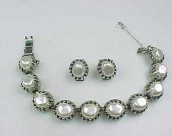 Stunning Vintage Signed Judy Lee Faux Baroque Pearl Bracelet & Matching Earrings