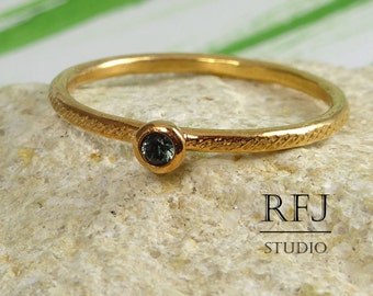 Rose Gold Dainty Textured Lab Tourmaline Ring, Rose 14K Gold Plated 2 mm Green CZ October Birthstone Ring, Rose Gold Plated CZ Stack Ring